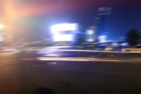 the traffic movement police: China Chengdu city road light trails