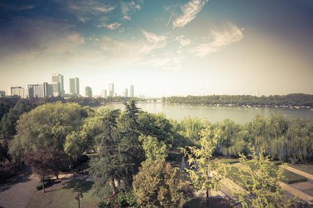 city park skyline: Nanjing Xuanwu Lake Park and the city skyline Stock Photo