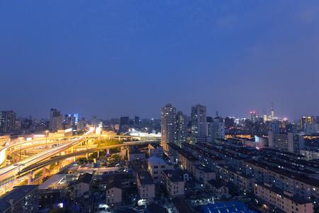 overpass: Shanghai city overpass at night Stock Photo