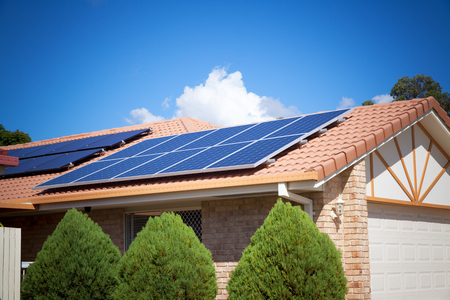 solar roof: Solar panels on the roof, Australia Editorial