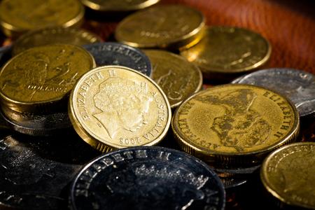 australian dollar notes: Australian coins, Soft focus, shallow DOF