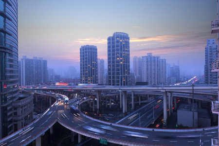 overpass: Shanghai city overpass Stock Photo