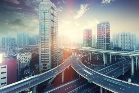 overpass: Shanghai city overpass Editorial