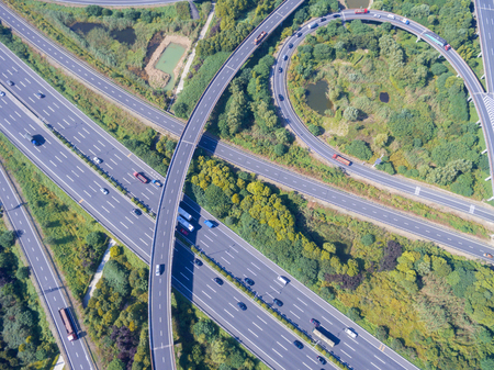 Wuxi, China, busy highway aerial view Stock Photo