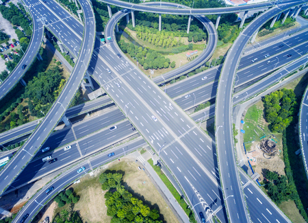 overpass: Wuxi, China, Aerial view of a modern highway overpass Stock Photo