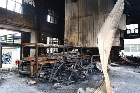 burned out: Burned Factory Building After Fire Disaster
