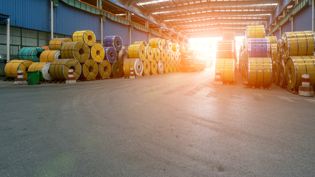 The interior of a steel mill coil warehouse Editorial