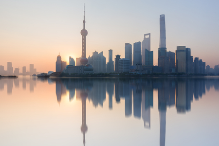Morning, Shanghai, China Pudong building skyline, Chinas most prosperous urban groups