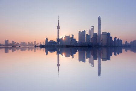 Morning, Shanghai, China Pudong building skyline, China's most prosperous urban groups Stock Photo - 74577167