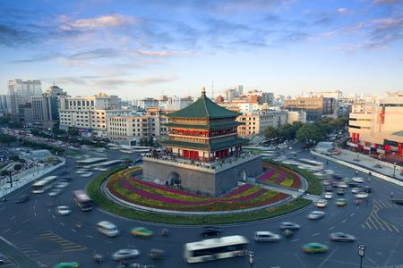 中国西安市のランドマーク、ベル タワー 写真素材