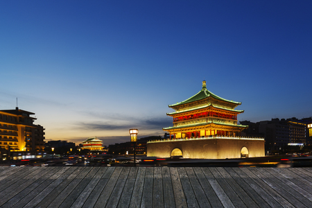 Chinas ancient city of Xian, at night the city landmarks and traffic roads