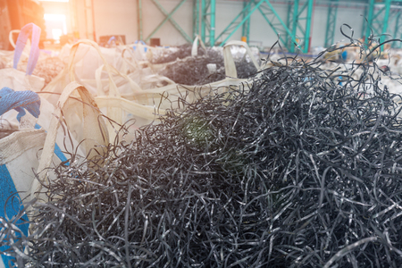 Industrial waste from metal processing plants, packaged waste Imagens