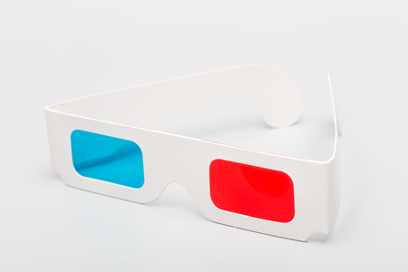 On a gray background, the various details of the combination of three-dimensional red and blue glasses Stock Photo