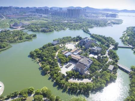 Jiangsu urban building and city park scenery
