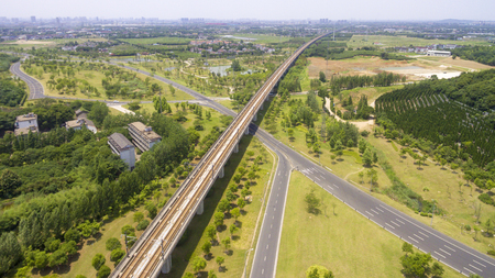 China Jiangsu Wuxi, aerial view of the highway and high-speed railway Stock Photo