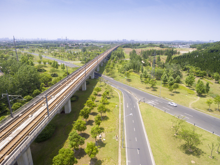 aerial view of the highway and high-speed railway