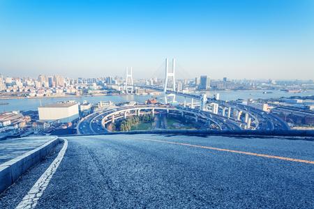 Yangpu Bridge and Asphalt Pavement Traffic Landscape, Shanghai, China