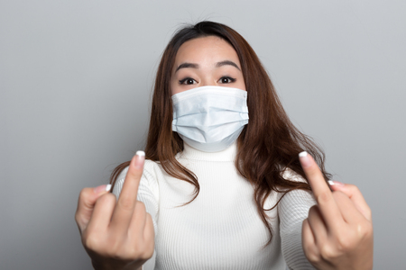 Chinese women with masks, all kinds of gestures