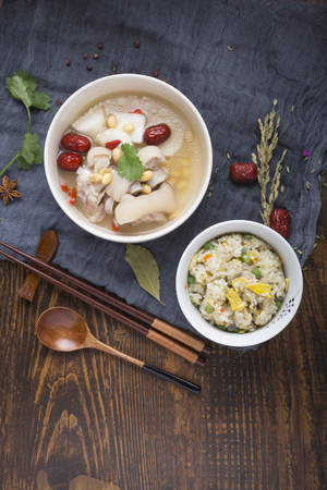 pork soy bean soup with egg fried rice Stock Photo