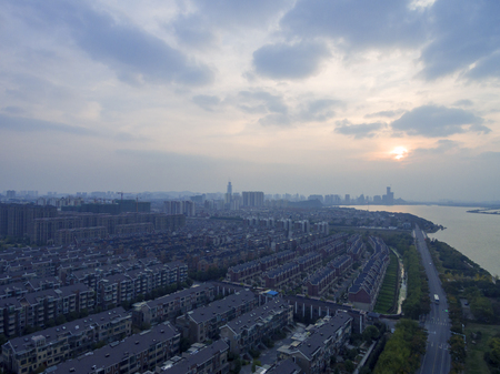 China Zhenjiang, evening  city skyline