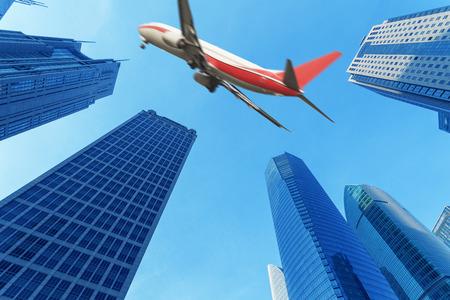 Edifici e aerei della città, sfondo della città moderna Archivio Fotografico - 104802611