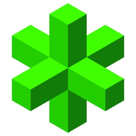 stereoscopic: cube Illustration