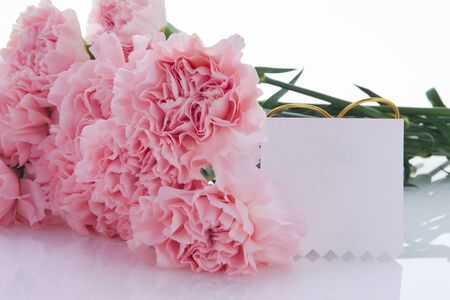 Happy Mother's Day, pink carnations in full bloom with cards