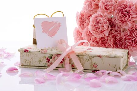 Happy Mother's Day, pink carnations in full bloom with Warm Gifts and Cards