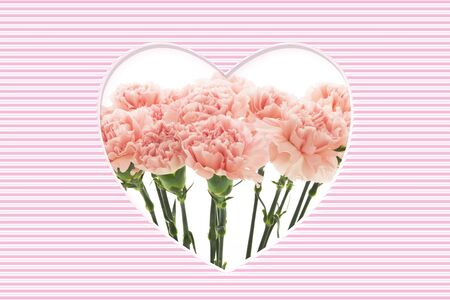 Greeting card with bright carnations designed as love pattern Banco de Imagens