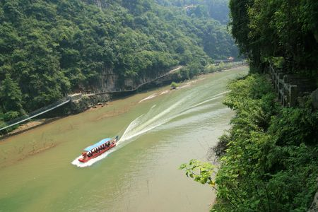 gorges: China Yangtze Three Gorges cruise walking Xiling Gorge Canyon