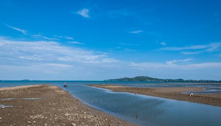 landscape on rayong beach near aquarium