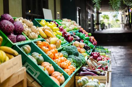 Fake fruit stall at shopping market