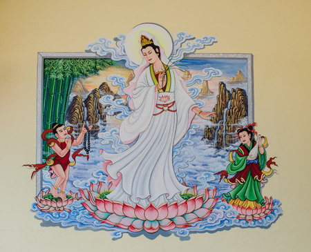 Guanyin painting on the wall of the temple. Thailand