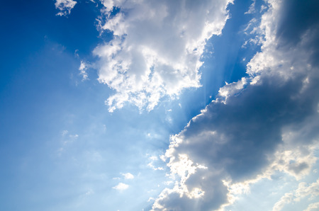 Blue sky with Light from the clouds Banco de Imagens