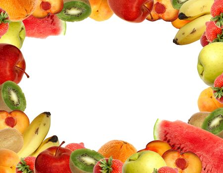tropical border: Fruit collection isolated on white. Stock Photo