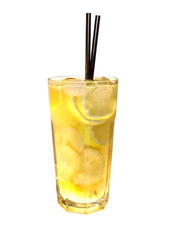 vodka lemon isolated over white