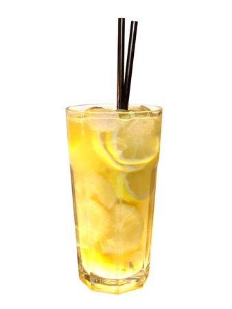 vodka lemon isolated over white            photo