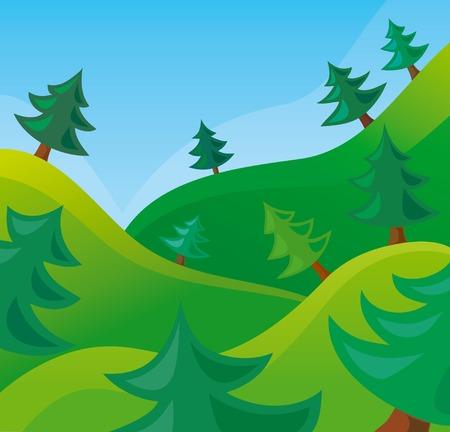 arbre     ? � feuillage persistant: sc�ne de la nature Illustration