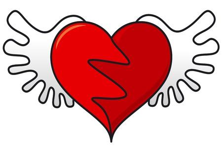 flying heart symbol Vector