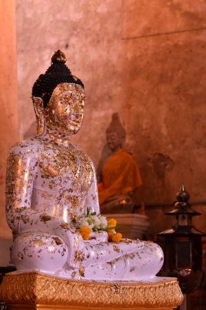 subduing: White subduing mara buddha image in Ayutthaya
