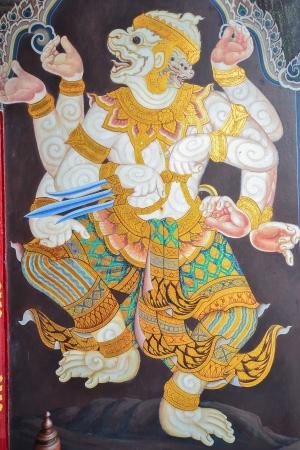 hanuman: Art painting of Hanuman ,one of the principal character in Ramayana epic, in Wat Phra Kaew Public domain , Thailand