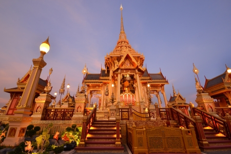 Twilight view of Thai royal crematorium in Bangkok, Thailand   photo