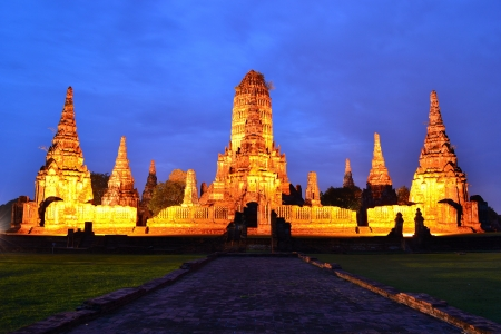 Wat Chaiwattanaram in twilight , Ayutthaya, Thailand photo