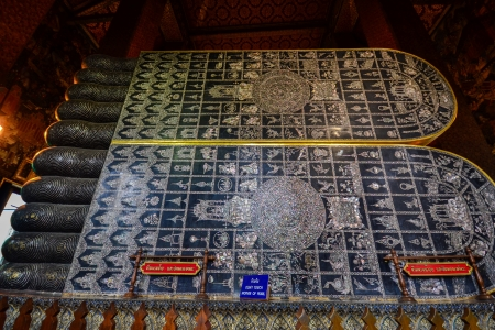 inlaid: Mother-of-pearl inlaid on reclining Buddha sole