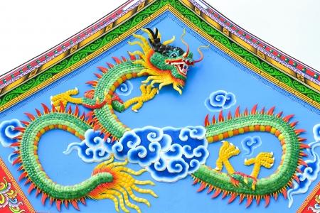 pediment: Chinese dragon on pediment Stock Photo