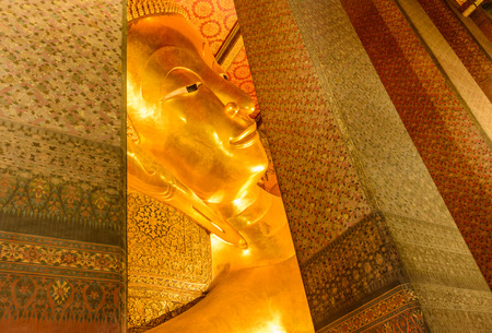 reclining: Reclining buddha image in  famous temple