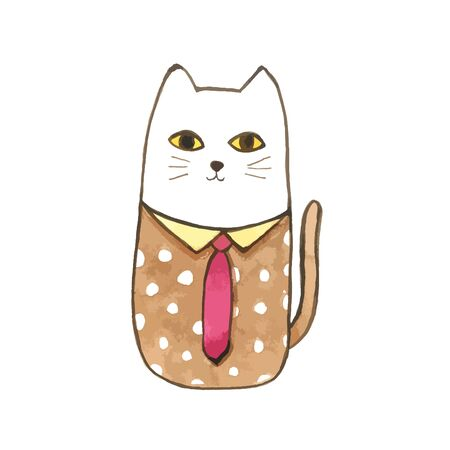Watercolor Cute Cat , isolated on white background, Cat cartoon cute for decorative and design