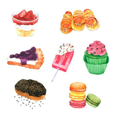 Hand drawn Watercolor Dessert on white background for decorative and design, pattern , packaging
