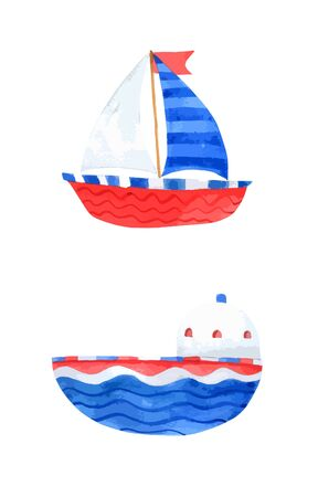 Boat watercolor collection on white background , Ship Cartoon Hand drawn for Kids, Greeting Card , Cases design, Postcards, Product, Notebook and more