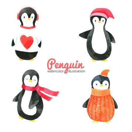 Penguin Cartoon watercolor collection on white background , Hand drawn for Kids, Greeting Card , Cases design, Postcards, Product, Notebook and more Vettoriali